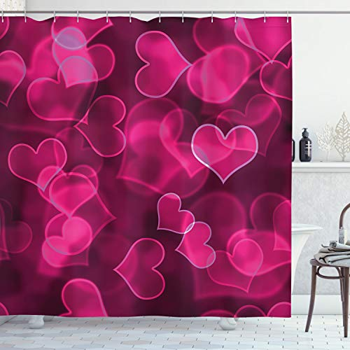 ABAKUHAUS Hot Pink Duschvorhang, Nettes Herz Verschwommen, Seife Bakterie Schimmel & Wasser Resistent inkl. 12 Haken & Farbfest, 175 x 200 cm, Magenta Hot Pink