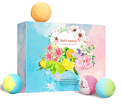 12 Organic & Natural Bath Bombs for Women - Vegan & Handmade Bubble Bathbombs Gift Set to Moisturize Dry Sensitive Skin Best Gift for Adult Girl/Boyfriend,Wife,Mother's Day,Christmas Day,Birthday