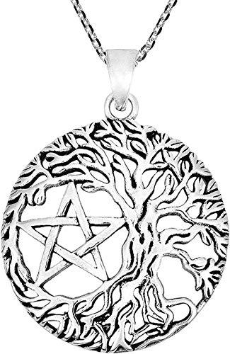 Ahuyongqing Co.,ltd Collar con Colgante de Plata de Ley 925 con árbol místico y Pentagrama