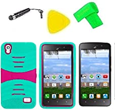 Heavy Duty Hybrid Phone Cover Case + Screen Protector + Extreme Band + Stylus Pen + Pry Tool For Straight Talk Tracfone NET10 Huawei Pronto LTE H891L / Ascend SnapTo G620-A2 LTE (S-Hybrid Teal Pink)