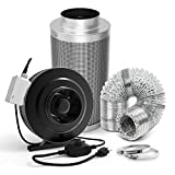 GROWNEER 6 Inch 440 CFM Inline Duct Fan with Speed Controller, 6 Inch Carbon Filter, 25ft Air Ducting with 2 Clamps, Grow Tent Ventilation Combo