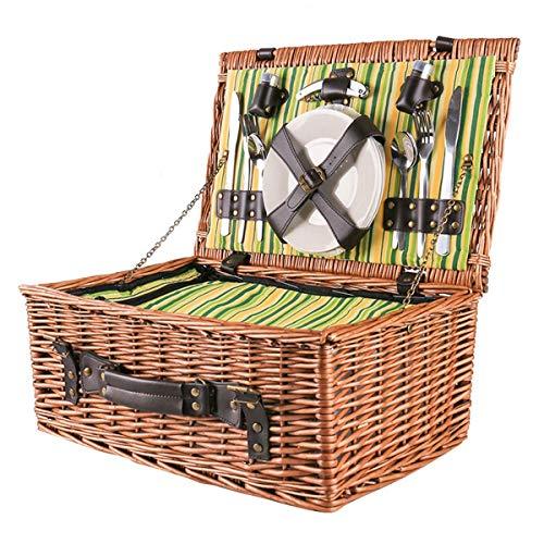 Picknickkorb Für 4 Personen Picknickset Weidenkorb Mit Decke Metallmesser Und Gabel Besteck Wein Gläser Teller Picknickkoffer (Größe:46 * 20cm)