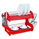 Home Basics Plastic 2-Tier Dish Drainer Rack, Air Drying and Organizing Dishes, Side Mounted Cutlery Holder, Red
