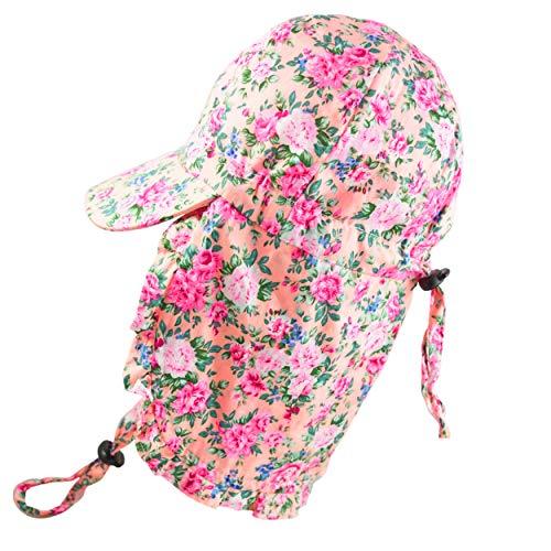 Pesci Chapeau de soleil d'été pour bébé fille avec rabat de protection du cou et sangle de menton réglable à volants floraux 0-2 ans - Rose - taille unique
