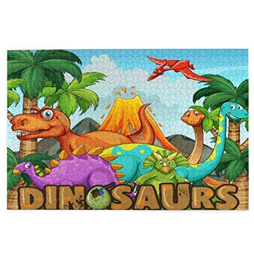 1000 grandes piezas de madera rompecabezas diferentes tipos de dinosaurios por el volcán ilustración para niños Jigsaws regalo para boda Navidad 29.5 x 19.7 pulgadas