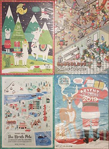 Trader Joe's Christmas 2019 Milk Chocolate Advent Calendar Bundle of 4 Seasonal Holiday Designs for Kids/Adult Gifts