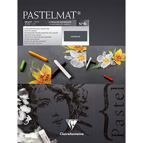 Clairefontaine 18 x 24 cm PastelMat Pastel Card Pad No6, 360 g, 12 fogli, Antracite