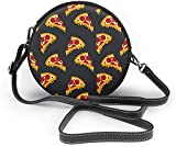 BAODANLA Bolso redondo mujer Seamless Pattern Fast Food Pizza Women Soft Leather Round Shoulder Bag Zipper Circle Purses Sling Bag