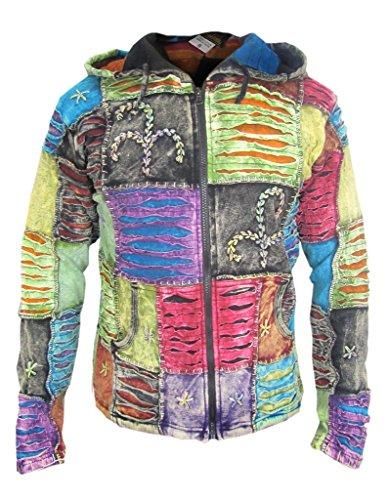 Little Kathamandu Herren Kapuzenjacke, Baumwolle, mit Handabdruck und dekorativen Einschnitten, spitz zulaufende Kapuze Gr. Medium, Fleece Lined (Winter)