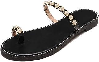 Hemore Women Clip Toe Sandals PU Leather Pearl Flip Flops Thongs Flat Summer Beach Shoes