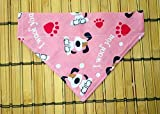 I Woof You Pink Paw Prints Reversible No Tie Slip On Over the Collar Cat Puppies Dog Bandana Pet Neckwear