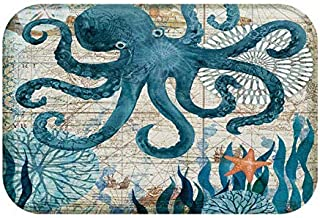 Non Slip Ocean Animal Octopus Home Bathroom Bedroom Mat Toilet Floor Door Mat Rug Carpet
