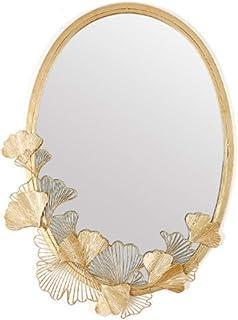 ZYLE الذهبي المشمش ورقة مرآة جوفاء الحديد البيضاوي الديكور الجدار شنقا ستيريو الإبداعية المصنوعة يدويا مرآة 64 × 86 سم