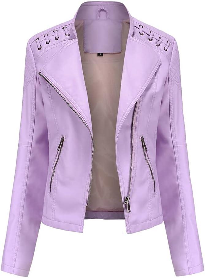 CDQYA Spring Women's Leather Jacket Slim Turn-Down Collar Short PU Leather Jacket Women Zipper Motorcycle Jackets Outwear Female (Color : Purple, Size : L Code)