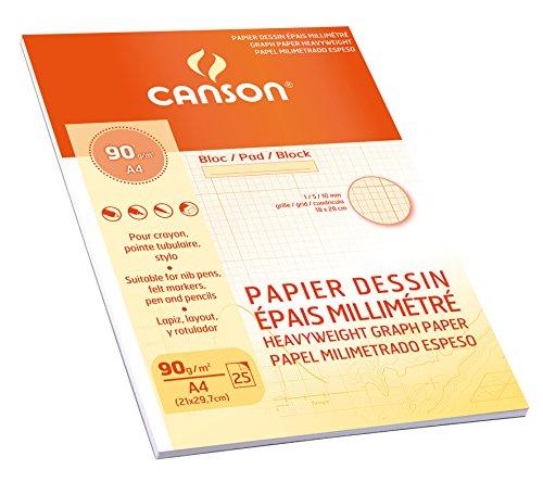 Canson 200006135 Millimeterpapier A5, weiß
