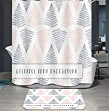 Ommda Duschvorhang Textil Wasserdicht Duschvorhang Anti-schimmel Pflanzen Digitaldruck Waschbar mit 12 Duschvorhang Ring 120x180cm(Keine Matten) Kiefernblätter