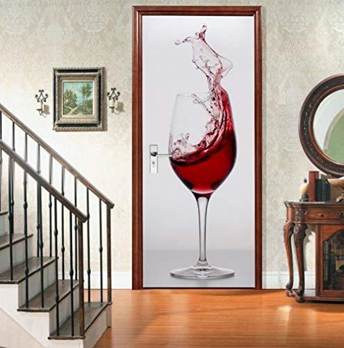 Creative DIY 3D-deurstickers, 3D-deur, rood, wijnglas, zelfklevend, waterbestendig, afneembaar, voor knutselen, muurstickers, decoratie, voor thuis, deur, PVC, affiche, 95 x 215 cm