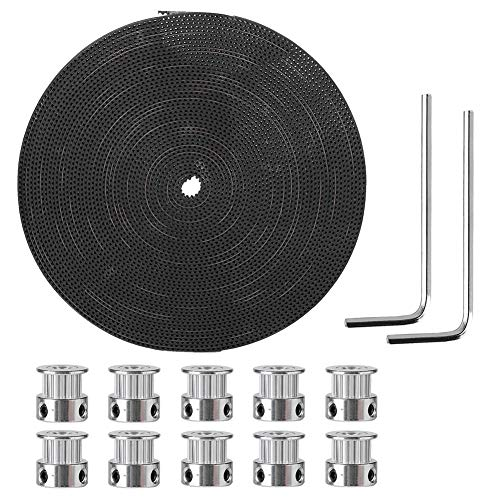 Queen.y 10M Synchronous Wheel (6mm)+10* Synchronous Wheels (20 teeth 5mm)+2*Wrenchs Timing Pulley Belt
