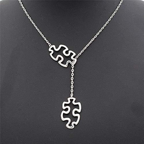 Moda Casual Tibetano Plata Autismo Joyería Conciencia Jigsaw Puzzle Doble Pieza Colgante Ajustable Cruz Lariat Collar Regalos