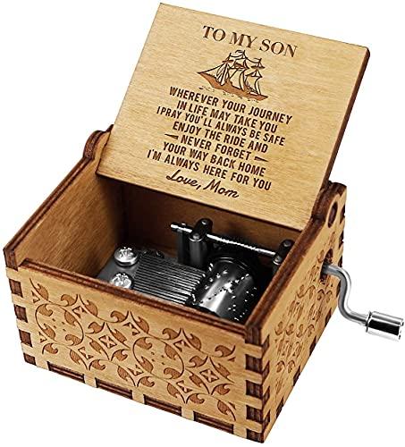 Star Heaven Caja de música de madera grabada con láser con manivela, mecanismo antiguo vintage, caja musical de personalidad, regalo para cumpleaños o Navidad (a hijo de mamá)