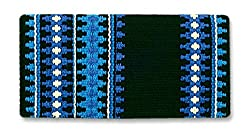 A Mayatex saddle pad in blue and black colors