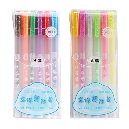 12Pack 3D Glossy Jelly Ink Pen Set, Nataliey Highlighters Glitter Gel Pens Coloring Markers DIY Fluorescent Painting Pen Assorted Colors Metallic Gel Ink Glitter Pen Coloring Books Drawing
