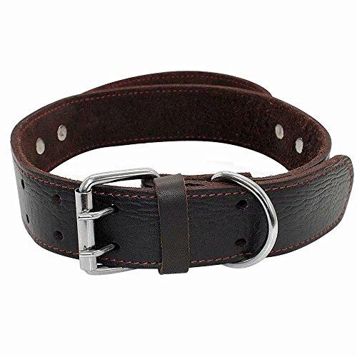 Collar para Perro de Piel auténtica con asa Resistente para Perros medianos y Grandes, para Entrenamiento, Bóxer, Doberman, Pitbull Bulldog