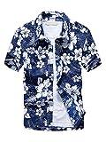 (ワイ-ミー)Y-ME 夏 半袖シャツ アロハシャツ ビーチシャツ  おしゃれ 通気性 blue ……