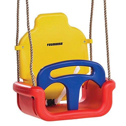 FATMOOSE Babyschaukel 3-in-1 TripleCruiser Kleinkindschaukel Babysitz Schaukelsitz mit Sicherheitsgurt, rot-gelb-blau