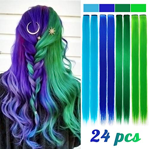 24 Pieces Party Highlights Clip in Colored Hair Extensions Colorful Hair Extensions 20 inches Straight Synthetic Hairpieces(Blue+Dark blue+Green+Grass green)