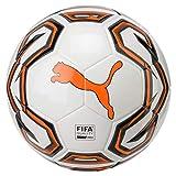 Puma Futsal 1 FIFA Quality Pro Balón de Fútbol, Puma White-Shocking Orange-Puma Black, 4