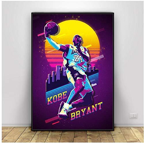 ad Kobe Bryant Superestrellas de Baloncesto Arte Lienzo Impresiones de Carteles Decoración de la Pared del hogar Pintura Imprimir en Lienzo -60x80cm Sin Marco