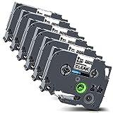 Xemax Compatibile Nastro 9mm x 8m Sostituzione per Brother P-Touch Tze-121 Tz-121 Laminato Cassette per PT-E100 PT-H110 PT-H101C PT-H101TB GL-H105 PT-D210 PT-D400 PT-1010, Nero su Transparent, 6 Pacco