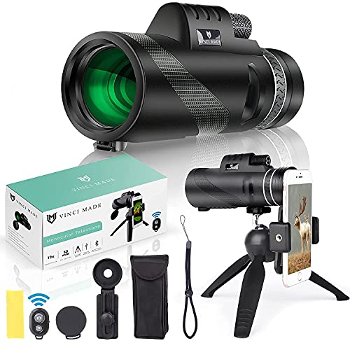 Vinci Made 12X50 HD Monocular for Adults - High Power Monocular Telescope with Smartphone Holder & Tripod - Waterproof BAK4 Prism Best for Wildlife Hunting Bird Watching Traveling Scenery Camping