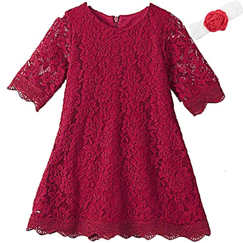 Homecoming Dresses for Teens Long High Low 7-16 Long Sleeve Gowns for Birthday Wedding Holiday Party 10-12 Years Old White Flower Lace Pageant Dress for Size 14 Elegant Princess (Wine Red190)