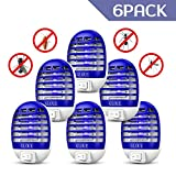 GLOUE Zapper Electric, Bug Zapper Electronic Insect Killer Flies Pests Trap Indoor, Mosquito Killer with Blue Light for Backyard, Patio, Bedroom, Kitchen, Office (6 Packs)