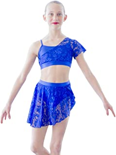 HDW DANCE Young Girls Contemporary Lyrical Dance Lycra Crop Top Shorts Lace Overlay