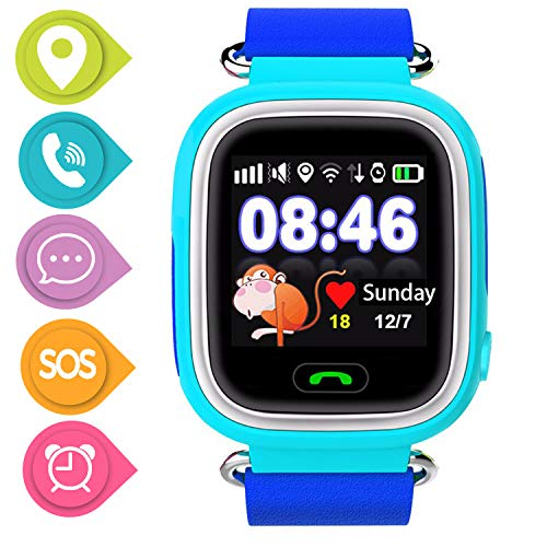 SmartWatch Teléfono Niño Niña, Pantalla táctil Reloj Inteligente Localizador GPS LBS WiFi con Chat de Voz SOS Cámara Despertador Reloj Digital Watch Regalo Estudiante Compatibles con iOS Android,Azul