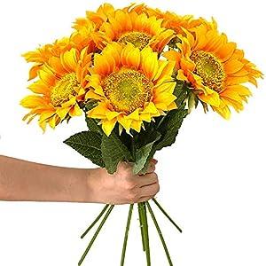 Xiyuan – 8 ramos de girasoles artificiales de 17 pulgadas en amarillo, flores artificiales para decoración del hogar…