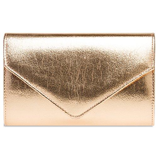 Caspar TA424 stylisch elegante Damen Metallic Clutch Tasche Abendtasche mit langer Kette, Farbe:roségold, Größe:One Size