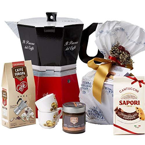 Speciale Italia - Große Moka Geschenkbox, Strenna in Form einer Kaffeekanne mit Artisan Panettone und andere süßen Lebensmittel, 2 kostenlose Tassen [6 Stück]