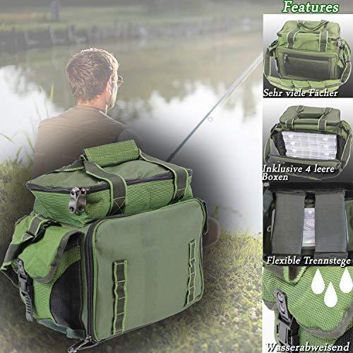 MQ ANGELTASCHE inkl. 4 KÖDERBOXEN | Angel Boxen-Tasche für Zubehör Leer Boxen Wasser-Abweisend 9907
