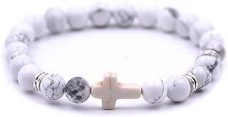 Fashion Alloy Cross 8MM Beads Bracelet Bangle for Boy Girl prayer Bracelets,7.5 Inches