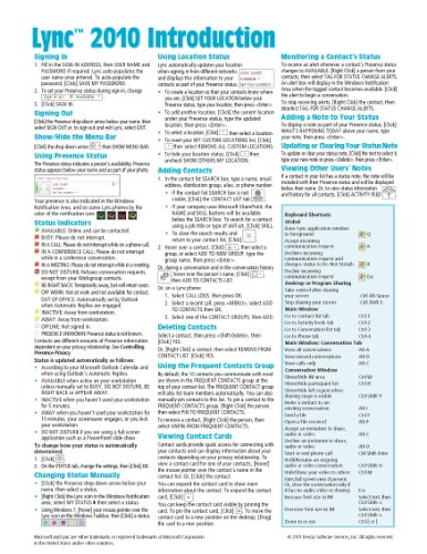 Microsoft Lync 2010 Introduction Quick Reference Guide (Cheat Sheet of Instructions, Tips & Shortcuts - Laminated Card)