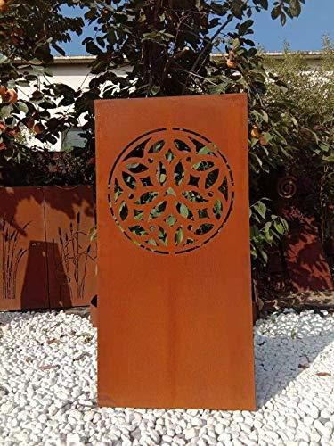 Zen Man Edelrost Garten Sichtschutz aus Metall Rost Gartenzaun Gartendeko Edelrost Sichtschutzwand 1mm 032022 B75*H150cm