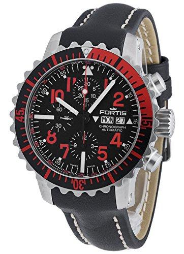 Fortis Herren-Armbanduhr Aquatis Marinemaster Rot Chronograph Datum Wochentag Analog Automatik 671.23.43 L.01