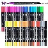 Dual Brush Pen Set, APOGO Filzstifte 48 Farben Handlettering Stifte Set Doppelfasermaler Pinselstift Malstifte für Erwachsene, Aquarellpinsel, Bullet Journal, Kalligraphie, Skizzieren, Malbücher