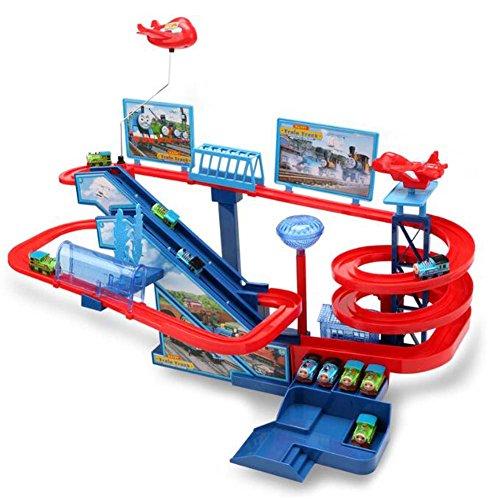 Black Temptation Parque de Atracciones Orbital con 5 Trenes de Juguete para niños Versión de batería para niños