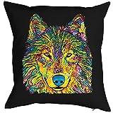 Goodman Design ® Kissen incl Füllung, Dekokissen, Couchkissen mit bunten Wolf Portrait