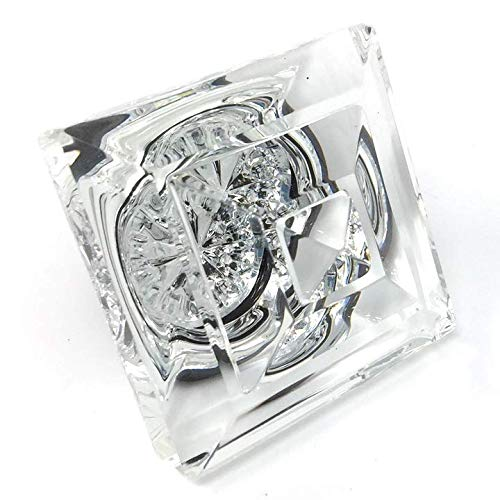 Exceptional Princess-Diamond Cut Crystal French Door Knobs-When only the Very Best will do. Mounts to any solid surface with 3 screws.(Brushed Nickel)